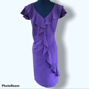 Spence | Purple Front Ruffle A Line Dress